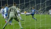 Skorupski risponde al tiro di Djordjevic con una parata d'istinto