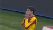 Grossmuller segna il goal della prima vittoria del Lecce sulla Lazio all'Olimpico