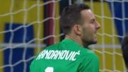 Soddimo cerca di spingere il Frosinone a San Siro, ma Handanovic salva la porta dell'Inter con una parata fantastica
