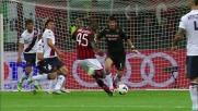 Con potenza e cattiveria Balotelli realizza il goal che chiude la pratica Cagliari