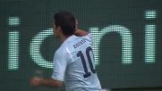 Stop di petto e diagonale di sinistro e Zarate realizza il goal che apre le danze contro il Napoli