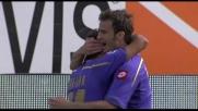 Tap-in vincente di Gilardino, la Fiorentina esulta per il goal del nuovo vantaggio