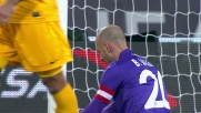 Termina alto il tocco  sotto porta di Borja Valero contro l'Hellas