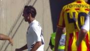 Thiago Ribeiro segna il goal del vantaggio del Cagliari a Lecce