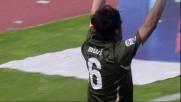 Mauri appoggia in rete il goal vittoria della Lazio al Cibali