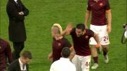 Florenzi e Manolas scherzano con Nainggolan dopo il derby fra Roma e Lazio