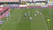 Il tiro col sinistro di Lodi terminsa sul palo in Catania-Genoa