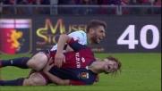 Folle gesto di Berardi contro il Genoa: calcio violento ad Ansaldi ed espulsione