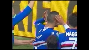 Palombo sorprende Bizzarri con un tiro dalla distanza in Sampdoria-Catania